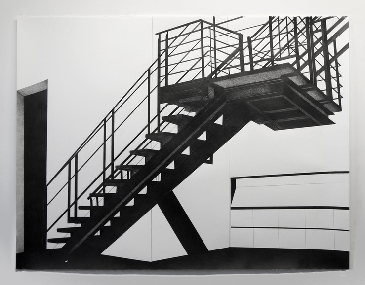 Brian hubble the staircase at metro pictures during the roberto longo exhibition ii graphite sur papier aquarelle 96x127 cm courtesy l artiste et less is more projects large2