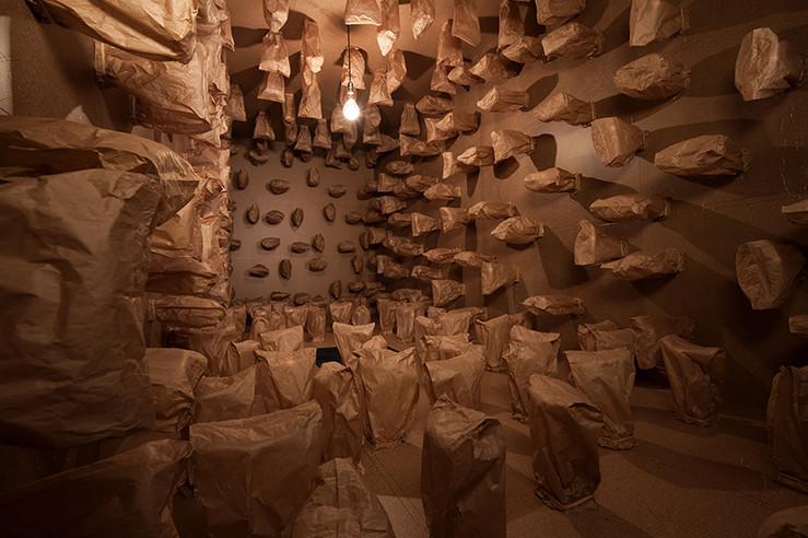Zimoun art basel 317 prepared dc motors paper bags shipping container designboom 03 large2