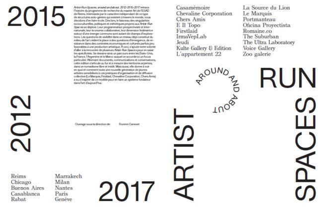 Lancement de l'édition Artist-Run Spaces, around and about. 2012-2015-2017 - Fondation d'entreprise Ricard