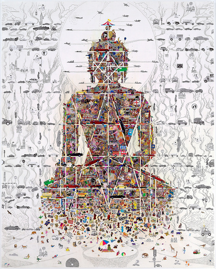 Gonkar gyatso  buddha in our time  mixed media silk screen print on fine art paper  155x122 cm  courtesy 10 chancery lane gallery medium