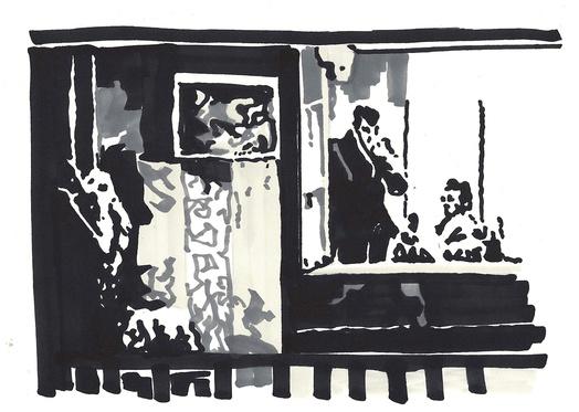 Aurelie bauer fenetre sur cour 1 feutre sur papier 21x29 medium