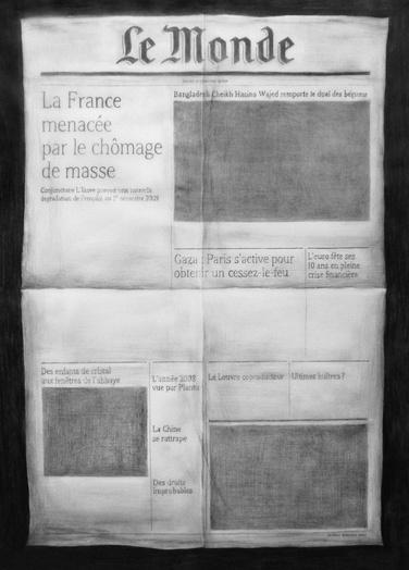 Marco godinho le monde du 01.01.2009  2010 graphite sur papier  55 x 40 cm   courtesy galerie herv  bize  nancy medium