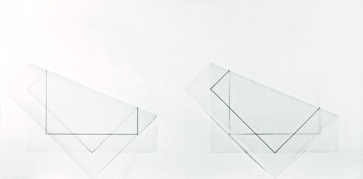 Fran ois morellet pliage   45  d un calque avec un carr  1978 encre  crayon  calque  papier sous cadre  52 x 104 cm   courtesy galerie aline vidal media art medium
