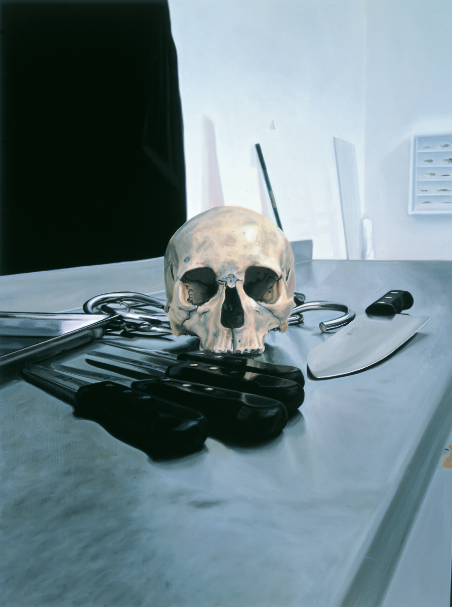 Damien hirst skull with knives 2005 oil and acrylic on canvas 121 9 x 91 4 cm original