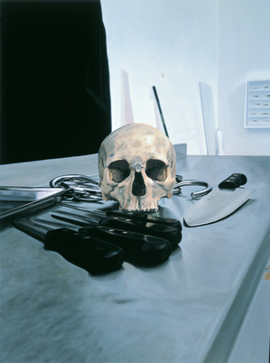 Damien hirst skull with knives 2005 oil and acrylic on canvas 121 9 x 91 4 cm small2