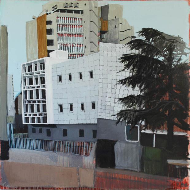 Liron paysage 98 2011 huile sur toile 123 x 123 cm. medium