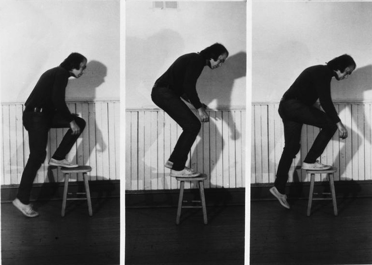 Vito Acconci, Step Piece (document of the activity), 1970