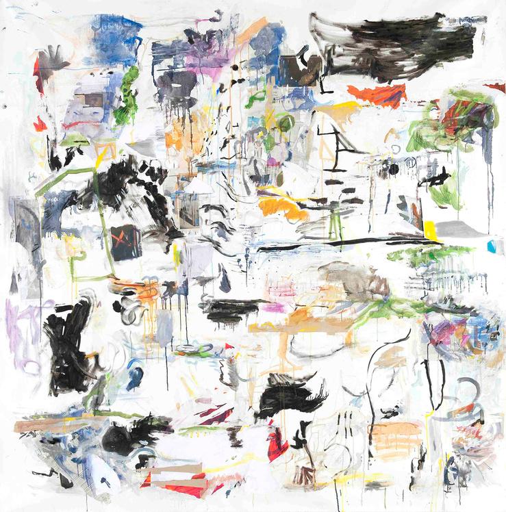 Guillaume Lebelle, Blanqui, 2012 Huile, gouache et papier sur toile — 200 × 200 cm — pièce unique
