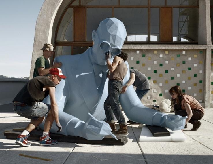 Xavier Veilhan, Le Corbusier (Buste), 2013, montage Unité d'Habitation, Le Corbusier, Marseille