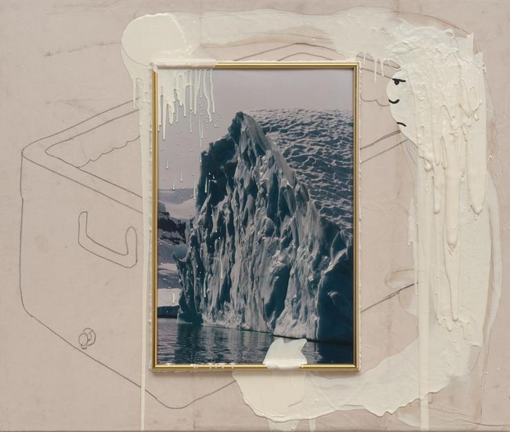 Joel Kyack, The Iceman Cometh, 2013—Toile, images encadrées, silicone, urethane, acrylique, crayon, fil, bois—109,2 x 129,6 x 5,7 cm