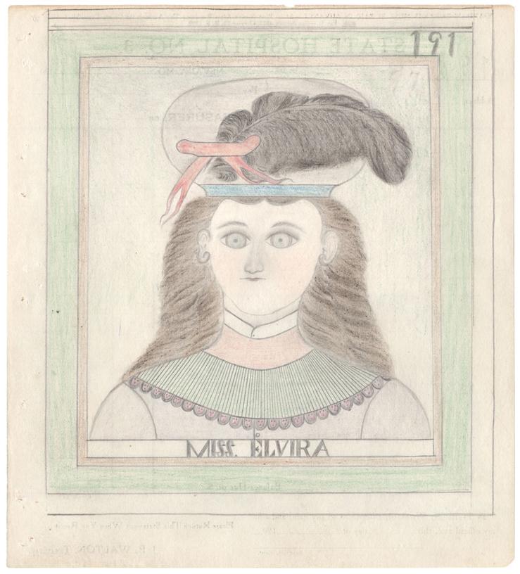 James Edward Deeds, Miss. Elvira / Elephant (191/192), recto verso, circa 1950—Graphite et crayon de couleur sur papier administratif — 23,5 × 21,4 cm