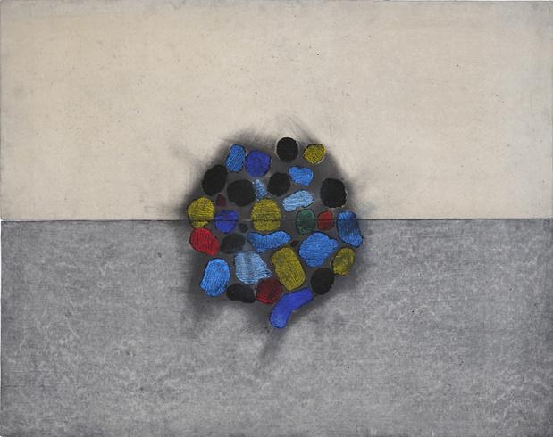 Mail la lumiere par le vent 93x92 cm charbon pigments et papier hanji 2013. lee jin woo medium