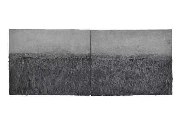 Mail sans titre 26x64 5 cm  en 2 parties charbon et papier hanji 2013. lee jin woo medium