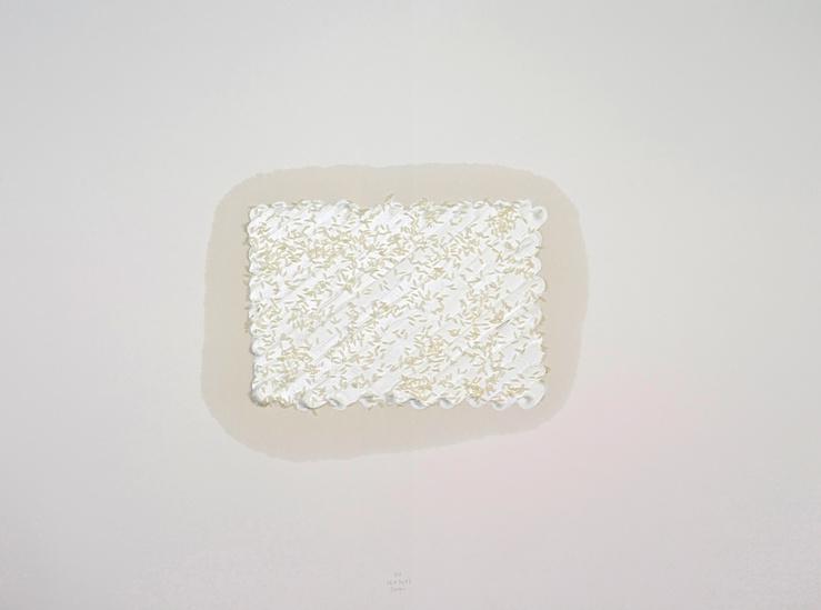 Sarkis, R1 26.8.2013, 2013—Peinture à l'huile avec riz sur papier Arches 300g—57 x 76 cm