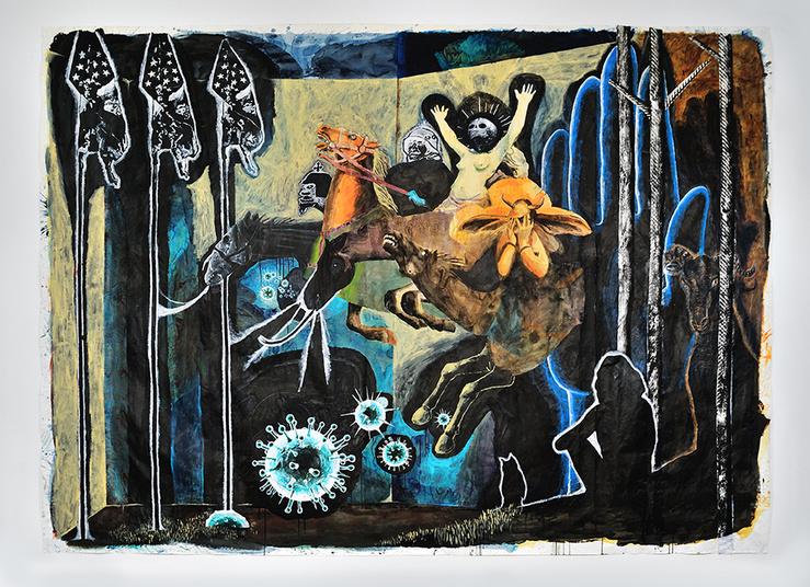 Damien Deroubaix, Furies, 2014—Aquarelle acrylique encre et collage sur papier 330 x 450 cm—Pièce unique