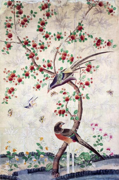 Chateau de versailles la chine a versailles art et diplomatie au 18 siecle un le de papier peint a decor de fleurs et oiseaux medium