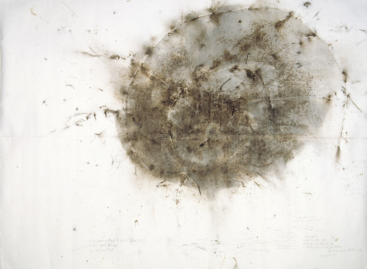 Cai Guo-Qiang, The Earth Has a Black Hole, Too, 1993, poudre à canon sur papier, 304 x 406 cm, collection Fondation Cartier pour l'art contemporain, Paris (acq. 1997)