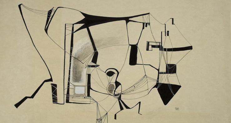 Anna-Eva Bergman, Sans Titre, 1951 (Détail)—Encre de Chine et gouache sur papier—35,90 x 53,80 cm—Pièce unique