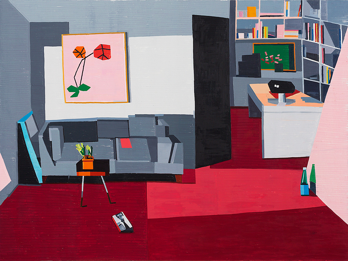 Guy yanai pink ipad on sofa 2014 oil on linen 180x240cm original