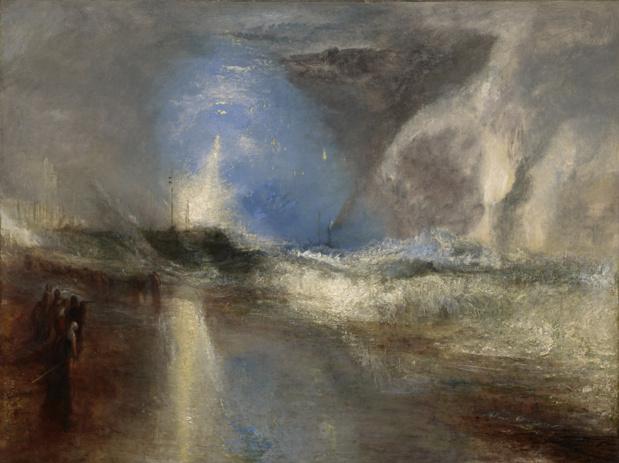 William turner fusees et lumieres bleues pour averter les bateaux a vapeur des hauts fonds 1840 medium