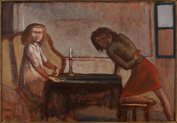Gagossian gallery balthus etude pour la partie de cartes study for the card game oil on board medium