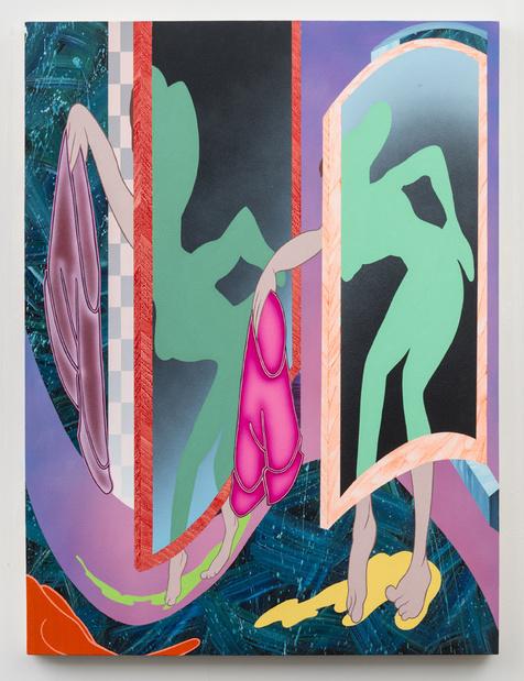 Michael dotson no shorts 2015 acrylic on panel 40 x 30 in. 102 x 76 cm  medium