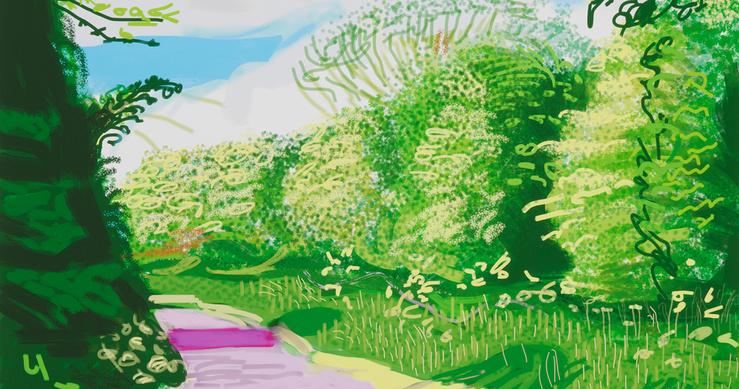 David Hockney, The Arrival of Spring in Woldgate, East Yorkshire in 2011 — 31 May, n°2 , 2011, dessin sur iPad, impression numérique sur papier, édition de 25, 140 x 105 cm
