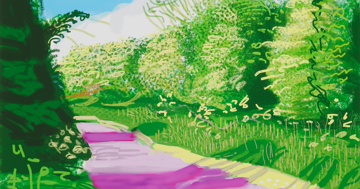 David Hockney, The Arrival of Spring in Woldgate, East Yorkshire in 2011 — 31 may, n°2, 2011 (Détail)