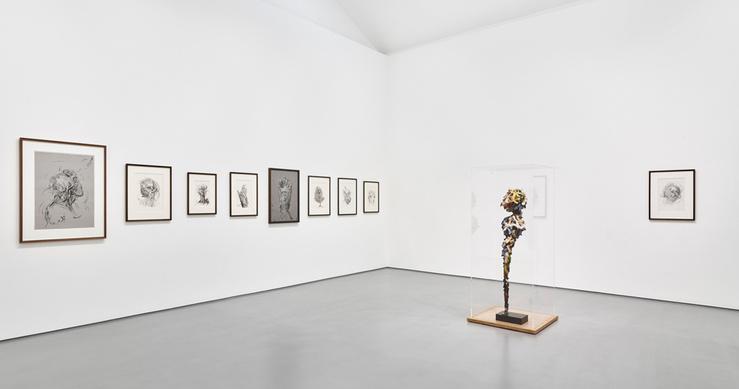 Vue de l'exposition Glenn Brown, Dessins à la galerie Max Hetzler, Paris, 2015