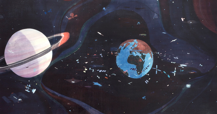 Jules de Balincourt, Cosmic Chaos (Détail), 2015—Huile sur toile