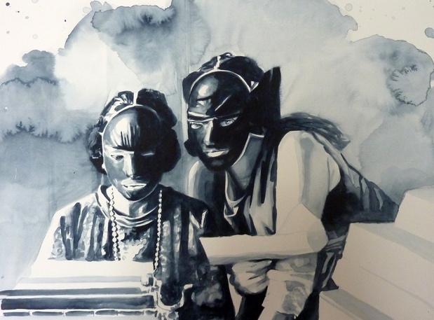 Giulia andreani les comploteuses 2015 36x48cm aquarelle sur papier courtesy galerie ma a muller paris medium