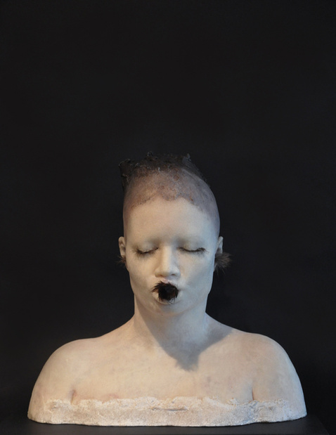 Lucy glendinning the thoughts i tried to keep 50x26x20cm cire jesmonite pigments plumes et bois 2015 medium