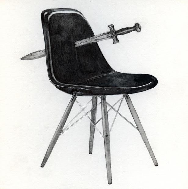 Xena warrior princess sword replica run through an eames fiberglass chair replica medium