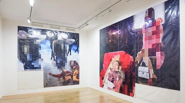 Thomas Hirschhorn, Pixel-Collage, vue d'exposition