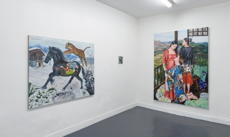 Vue de l'exposition Nazanin Pouyandeh, L'Envers du décor, galerie Sator, Paris