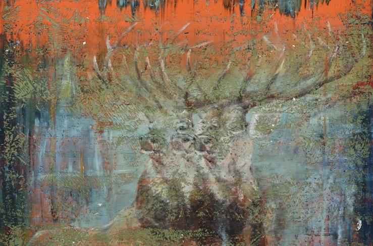 Julien des Monstiers, Cerf, cerf, cerf, 2015 (Détail)—Huile sur toile, 200 x 170 cm
