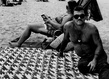 Arlene gottfried 2 houndstooth blanket on coney island beach new york 1976 grid