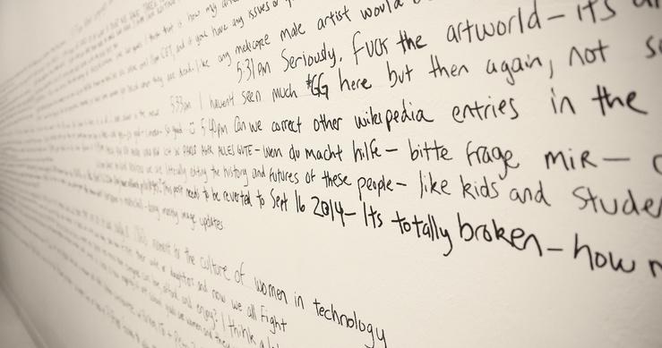 Editathon Art+Feminism Paris, 2015, Mur d'écriture par Addie Wagenknecht, Hub Lafayette Anticipation, 7 et 8 mars 2015