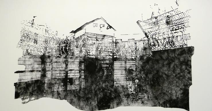 Nicolas Daubanes, Maison d'arrêt des Hauts-de-Seine, cour de promenade du bâtiment C, poudre d'acier aimantée, création, 2016