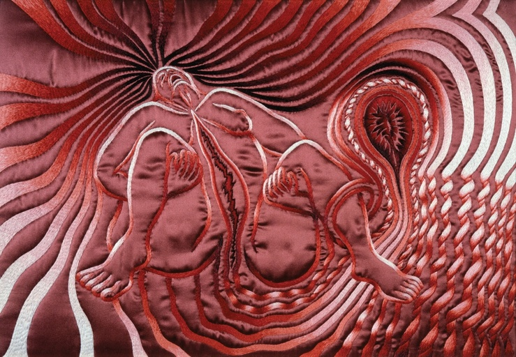 Judy Chicago, Birth Tear de la série The Birth Project, 1982—Broderie sur soie, 52,1 x 69,9 cm réalisée par Jane Gaddie Thompson