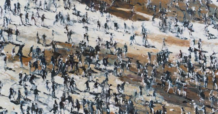 Philippe Cognée, Crowd Under The Sun, 2014 (Détail)—Peinture à la cire sur toile — 200 × 200 cm