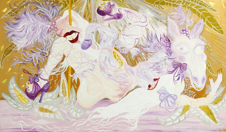 Lucile Littot, Dolores 2028 N.8, 2016—Huile sur toile—120 × 190 cm