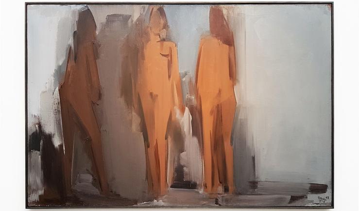Fermín Aguayo, Trois Nus pour un espace, 1968, Vue de l'exposition Corps et Ames à la galerie Jeanne Bucher Jaeger, Paris