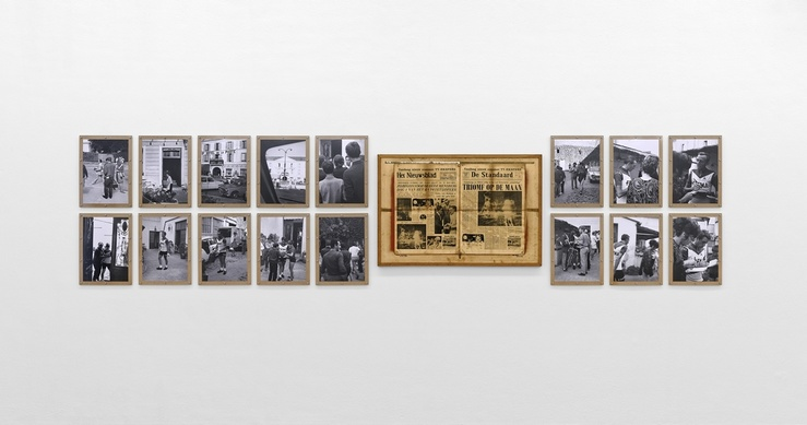 Jef Geys, Eddy Merckx (1 à 65), 1969, vue de l'exposition Jef Geys, Le Tour de France 1969 d'Eddy Merckx du 2 juin au 13 août 2017 à l'Institut d'art contemporain, Villeurbanne