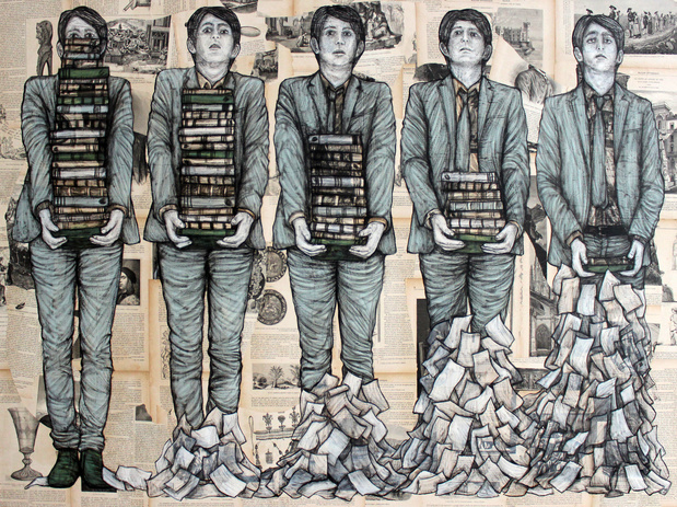 Yia levalet effeuillage mixed media on paper and canvas 100x140cm 2017  medium