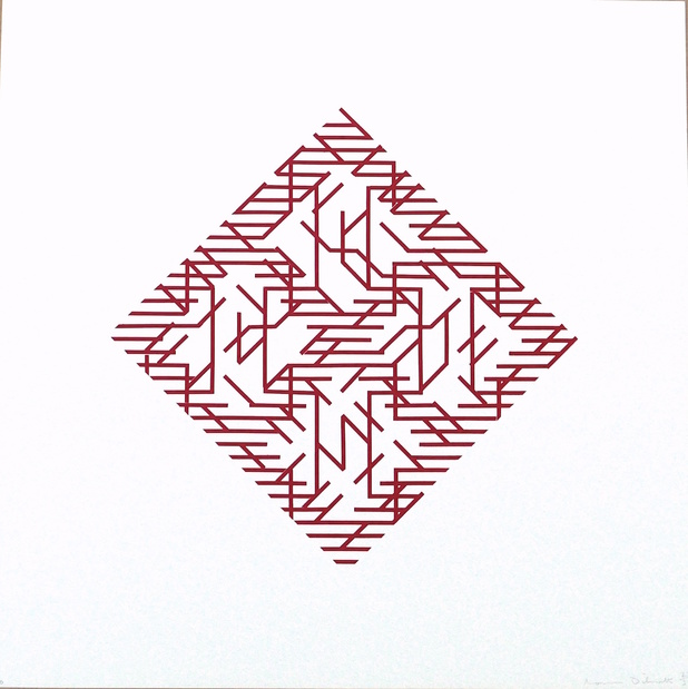 Galerie oniris hors les murs soon paris salon de loeuvre originale numerotee dilworth red diagonal 1971 medium