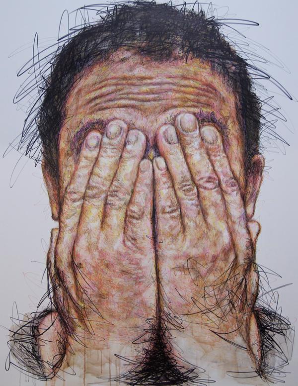 Hidden autoportrait %28iwazaru%29, techniques mixtes sur toile, 180 x 140 cm, 2016 original