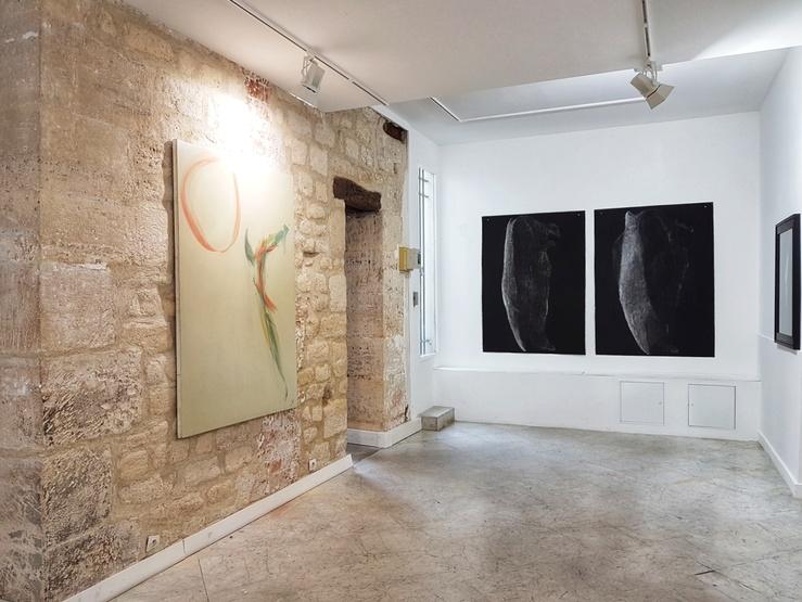 Vue de l'exposition Melissa Coote, Karen Farkas, Tête à tête à la galerie baudoin lebon, Paris, 2018