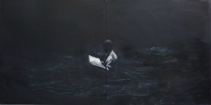 Xiaodong Liu, Study For a Self-Portrait (Figure in The Sea), 2017 — Huile sur toile, 400 x 200 cm