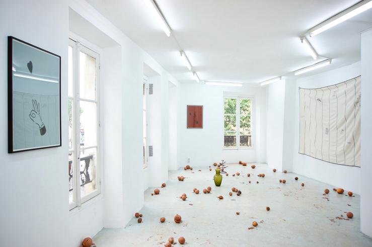 Chloé Quenum, vue de l'exposition Châtaignes, galerie Joseph Tang, Paris, 2018